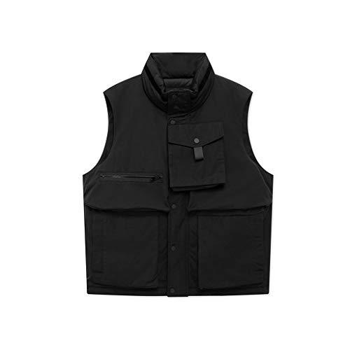 DUOER home Chaleco negro con cuello alto, para hombre, estilo de trabajo, con bolsillo grande, sin mangas, para primavera y otoño (color: negro, tamaño: XXL)