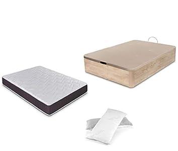 Dormidán - Pack de canapé abatible de Gran Capacidad + colchón viscoelástico + Almohada visco Copos de Regalo (150_x_190_cm, Roble)