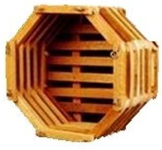 Wood Slat Vanda Orchid Basket. Octagonal. Cedar. 12 inch with 20 inch 4 Way Hanger.