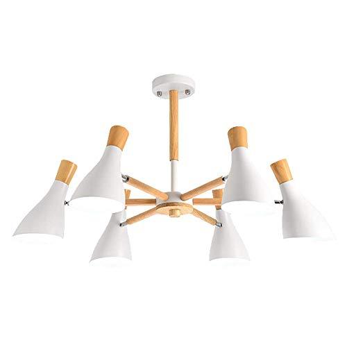 FYRKYP Nordic Sputnik Candelabro Moderno Led [Ajustable] Brazo Lámpara Colgante Arte de Hierro Simple Lámpara de Techo para Comedor Dormitorio Sala de Estar,Blanco,6 Luces