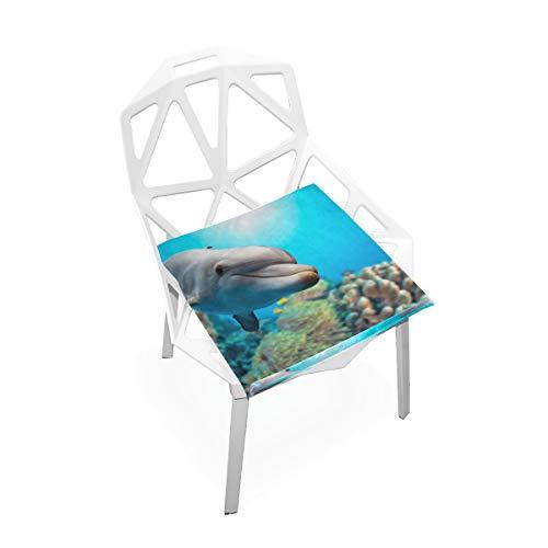 Springen glücklich aufgeregt Delphin benutzerdefinierte weiche rutschfeste quadratische Memory Foam Chair Pads Kissen Sitz für Home Kitchen Esszimmer Büro Rollstuhl Schreibtisch 16 X 16 Zoll