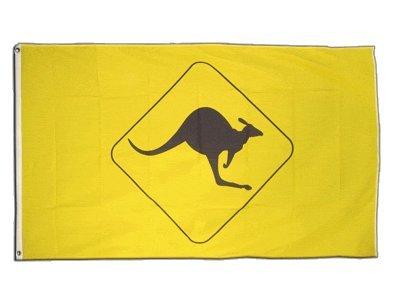 Fahne / Flagge Känguru Schild + gratis Sticker, Flaggenfritze®