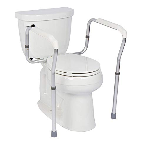 AXD Toilet Safety Rail, Adjustable Aluminium Toilet Surround Frame, Anti-Slip Rail and Grab Bar, for Elderly Disabled,with Floor Fixing Feet