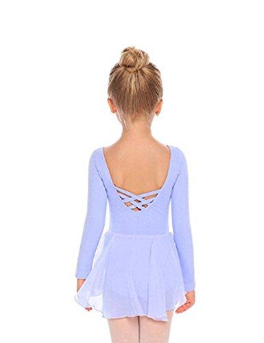 Arshiner Kids Girls Classic Long Sleeve Leotard Dance Ballet Dress, Sky Blue, 130(Age for 4-5Y)