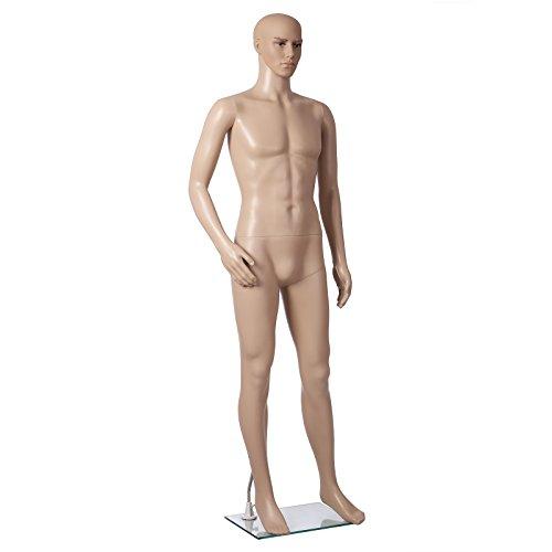 SONGMICS männliche Schaufensterpuppe männlich Schaufensterfigur Mannequin aus PE-Plastik MPGM19