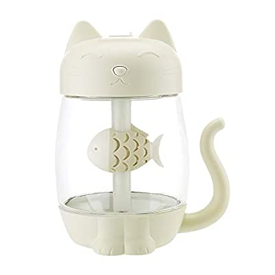 BXzhiri 3 in 1 Humidifier, Cute Cat LED Humidifier, Air Fan Diffuser, Purifier Atomizer, with Nightlight - for Babies, Easy to Clean, 11-32 Hours, Auto Shut Off