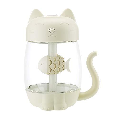 Moent 3 In 1 Luftbefeuchter Niedlicher Cat Led Luftbefeuchter Luftventilator Diffusor Purifier Zerstäuber, Einfacher Cat Luftbefeuchter Mini Desktop Kleines Nachtlicht DREI In Eins