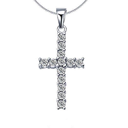 Qier Necklaces For Women,Dainty Valentines Day Classic Cross Pendant Chain,Anniversary Birthday Romantic Jewelry Gift For Girlfriend Hip Hop Men,Silver,One Size