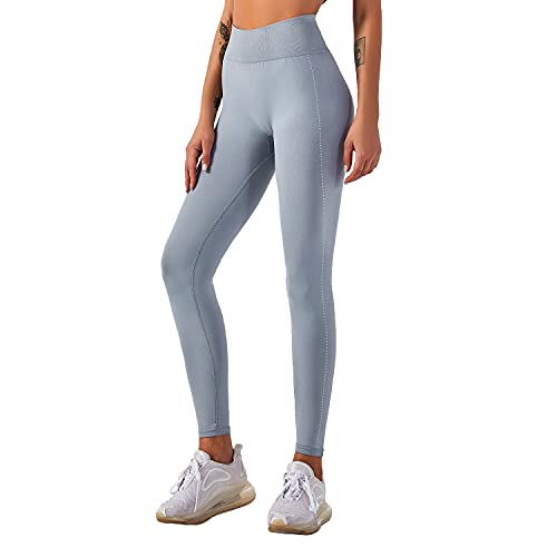 QTJY Pantalones de Yoga elásticos Sexis Suaves para Mujer, Medias de Cintura Alta a la Cadera, Push-ups sin Costuras, Celulitis, Ejercicio, Gimnasio, Pantalones de chándal D L