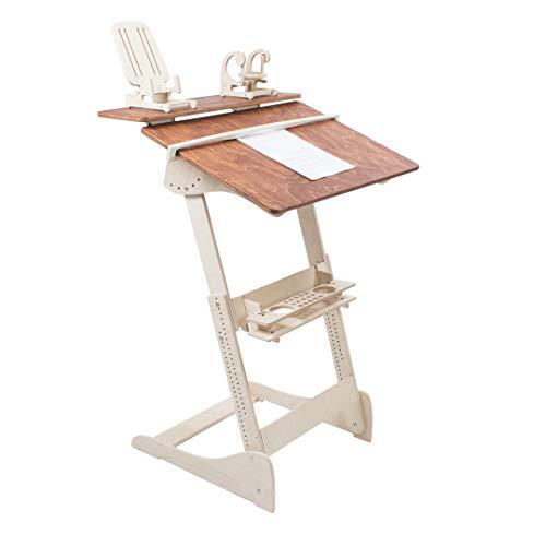 ALNETI Stehpult Stehtisch für Kinder Typ L - Holz - Tisch höhenverstellbar - Kontorka - Gestell unlackiert (Tischplatte Nuss, hell) Adjust Standing Desk