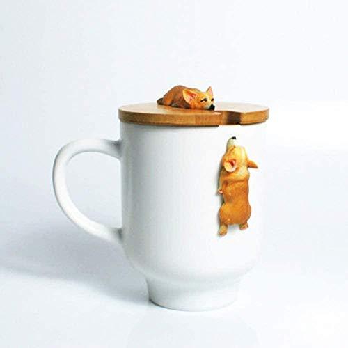 fsafa 3D Hund Becher Süße Hund Katze Kralle Kaffee Tee Becher Kirsche Doppelschicht Keramik Saft Tasse Milchbecher Wassertasse,Neuheit Personalisierte Schokolade Tee Milchbecher,Beste GIF