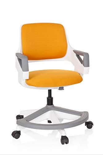 hjh OFFICE 640490 Kinder- und Jugendstuhl Kid Flex Stoff Orange mitwachsender Drehstuhl, Fußablage & Rückenlehne höhenverstellbar
