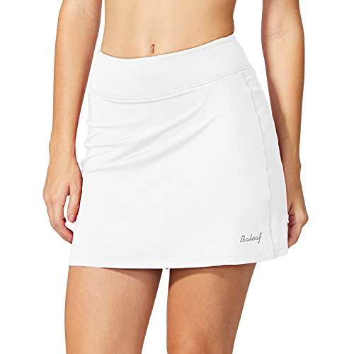 BALEAF Women's Athletic Skorts Lightweight Active Skirts with Shorts Pockets Running Tennis Golf Workout Sports White Size M