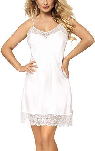 DKaren Nachtwäsche Edles Damen Satin Nachthemd Negligee Nachtkleid Kurz Unterkleid Weiß Spitze Trägerkleid Milan (M, Ekri)