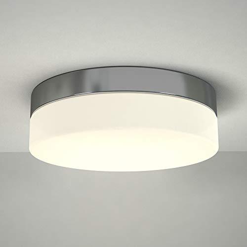 Milano Tama Plafoniera da Soffitto LED 24W Ø347mm Rotonda per Bagni Cromata Lampada Paratia – IP44 Impermeabile – Bianco Caldo (3000K) con Diffusore di Vetro Smerigliato