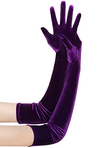BABEYOND Guantes de terciopelo para mujer, largo/cortos, para fiestas, Audrey Hepburn, de los años 20 4-morado oscuro/55 cm Talla única