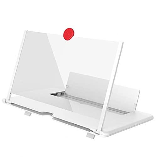 Liadance Smartphone Screen Magnifier Handy-Verstärker-Vergrößerer Projektor Bildschirm 3D ausklappbarer Standfuß 14inch mit justierbarem Winkel Weiß Handy-Teile