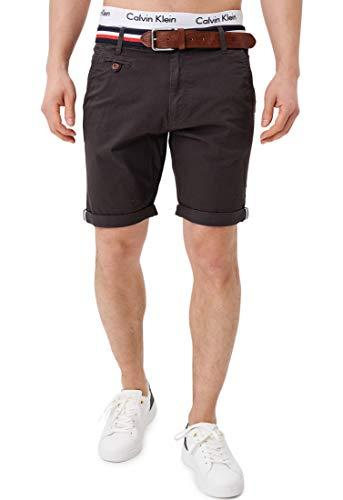 Indicode Herren Creel Chino Shorts mit 5 Taschen inkl. Gürtel aus 98% Baumwolle | Kurze Hose Regular Fit Bermuda Stretch Herrenshorts Short Men Pants Sommerhose kurz für Männer Raven 3XL