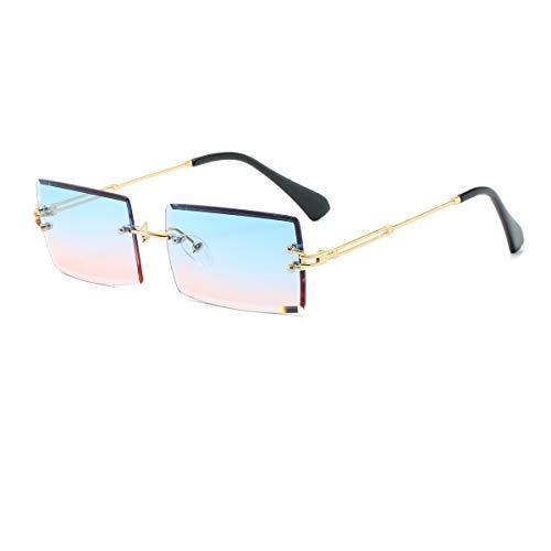 YOJUED Occhiali da sole vintage senza bordi per uomo e donna, alla moda, stile retrò, protezione UV400