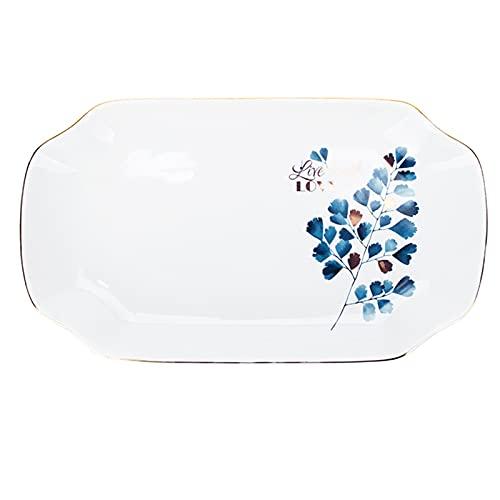 JIASHIQI Conjunto de Placa de Cena, Placa de Filete de Postre, Placa de cerámica para cenar/bistec/Plato Principal, Resistente a arañazos (Color : White, Size : 12.40 * 7.08 * 1.18inch)