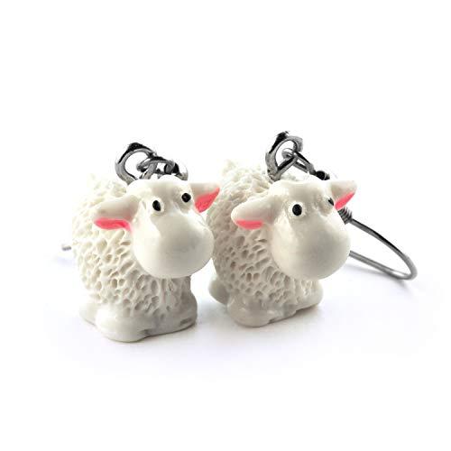SCHMUCKZUCKER Damen Kinder Ohrhänger Schaf witzige Edelstahl Ohrringe Silber Creme-Weiß