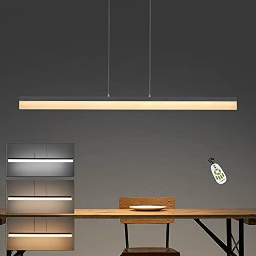 CBJKTX Lámpara de techo LED para comedor, regulable, altura regulable, color negro, lámpara de oficina con mando a distancia, 120 cm de longitud, 23 W, moderna lámpara de comedor, diseño minimalista