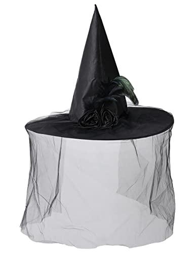Sombrero de bruja de Halloween, mscara de hilo ligero, sombrero de mago con rosa para mujer, carnaval, Navidad, cosplay, fiesta, accesorio-negro_talla nica