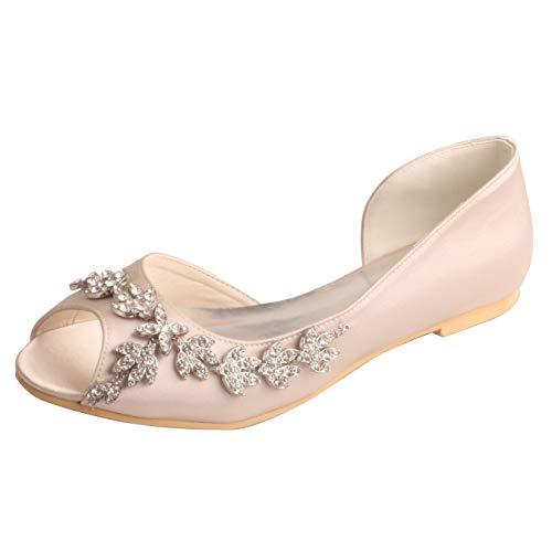 Bailarinas Novia Satén para Mujer Punta Abierta Zapatos De Boda Planos con...