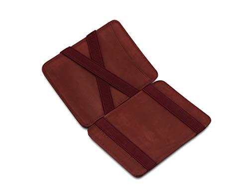 Hunterson Flacher Geldbeutel Fuer Herren aus Leder, Magic Wallet mit RFID-Schutz, Geldboerse mit Platz Fuer 8 Karten, Burgundy