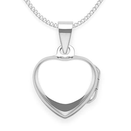 Halskette Medaillon Herz 925 Sterling-Silber für Kinder mit 38 cm Silber-Kette – Größe: 13 mm klein – nur für Kinder. Lieferung erfolgt in Geschenkbox