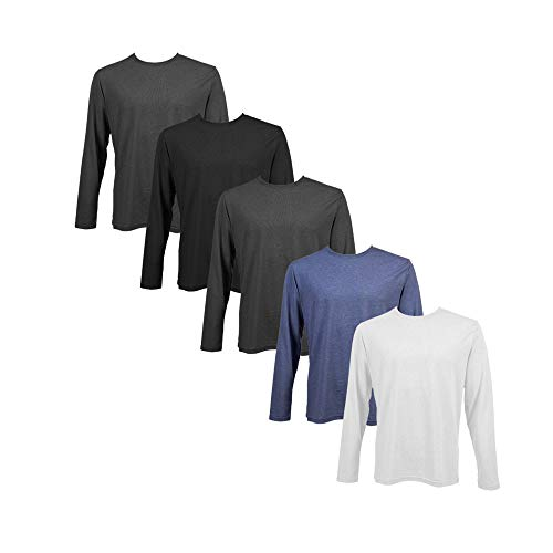 Camisetas Manga Larga Hombre Pack 5u Algodón 150g - Camiseta Neck Color Liso Long-Sleeve Shirt Cuello Redondo Basica Esencial Original (Pack E, M)