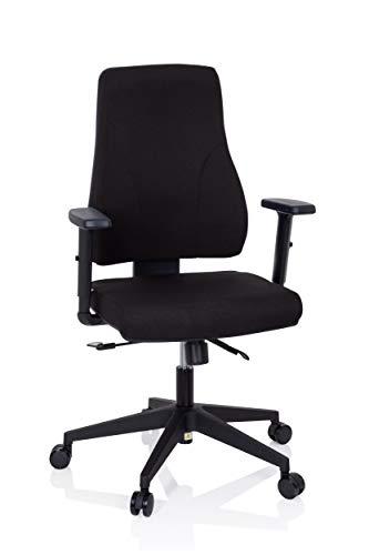 hjh OFFICE 810015 Profi Bürostuhl Mathes Stoff Schwarz Drehstuhl ergonomisch, Rückenlehne & Armlehnen höhenverstellbar