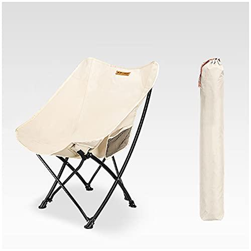 GJSC Silla de Camping Plegable, Silla de Playa Portátil Ultraligera al Aire Libre con Bolsa de Transporte y Bolsa Lateral, Máxima 120kg White