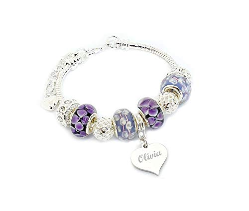 SanaBelle Personalised Engraved Name Purple Charm Bracelet