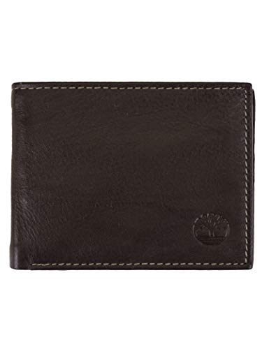Timberland Men's Wellington RFID Leather Bifold Wallet Trifold Wallet Hybrid, One Size, brown
