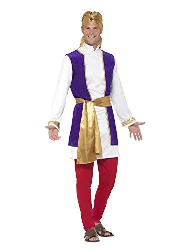 shoperama Arabischer Prinz Sultan 1001 Nacht 5-teiliges Herren-Kostüm Tunika Weste Hose Turban Orient Araber Scheich Märchen Aladin Aladdin, Größe:M