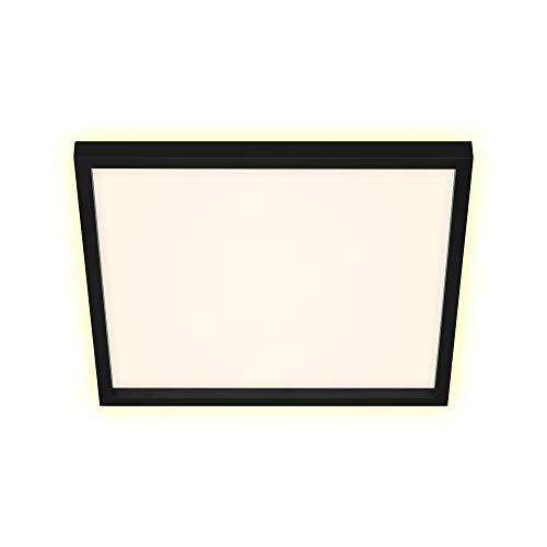 Briloner Leuchten - LED Deckenleuchte, Deckenlampe inkl. Backlight-Effekt, 22 Watt, 3.000 Lumen, 3.000 Kelvin, Weiß-Schwarz, 422x422x40mm (LxBxH)