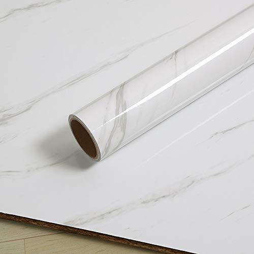 Shackcom Marmor Folie Selbstklebende Klebefolie 40x500cm Weiß PVC Marmorfolie Möbelaufkleber Folie DIY ölbeständig Wasserdicht Tapete Dekofolie für Zuhause Küche Wohnzimmer