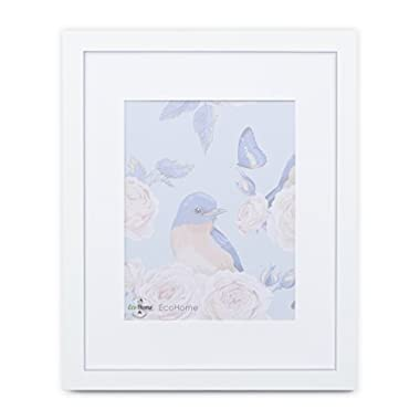 11x14 White Picture Frame Matted - Display 8x10 Pictures with mat or 11x14 with Out a mat - Wide Molding, Frames by EcoHome