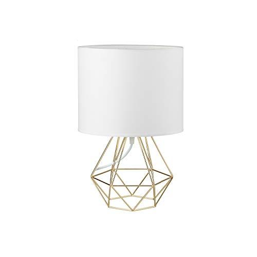 FRIDEKO HOME Vintage Mini Tischlampe - 18cm DIY Tischleuchte Modern Körbchenstil Stil Kreativer für Schlafzimmer Nachttischlampe Arbeitszimmer Office Weiß und Gold