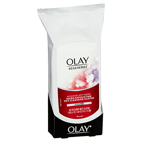 Olay Regenerist Micro-Exfoliating Wet Cleansing Cloths 30 Wipes, Pack of 3