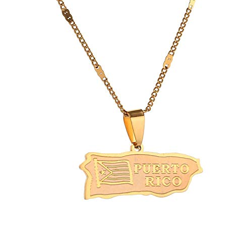 Sudran-baby Stainless Steel Puerto Rico Map Pendant Necklace Gold Color Puerto Ricans Map Jewelry-