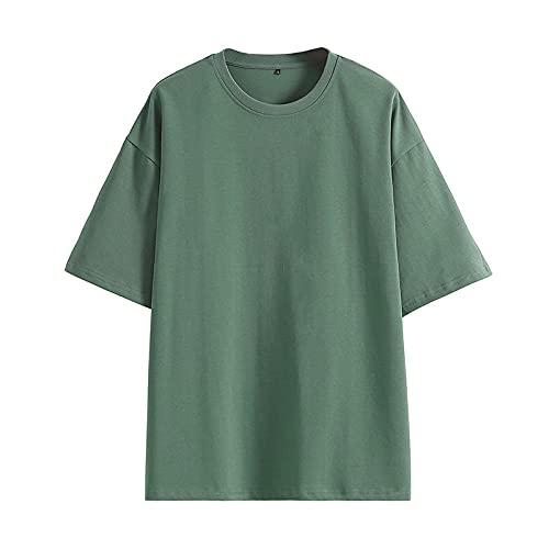 DamaiOpeningcs Camiseta ligera de secado rápido de gimnasio de manga larga, camiseta de hombro izquierdo, camisa suelta transpirable manga corta verde_M