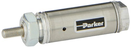Parker .75NSR00.5 Stainless Steel Air Cylinder, Round Body, Single Acting, Spring Return, Nose Mount, Non-cushioned, 3/4 inches Bore, 1/2 inches Stroke, 1/4 inches Rod OD, 1/8