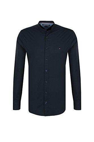 Tommy Hilfiger Herren Slim Stretch Mandarin Shirt Freizeithemd, Blau (Sky Captain 403), Small
