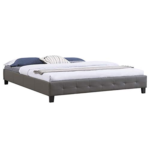 IDIMEX Futtonbett Gomera modernes Design, Bett Doppelbett Bettrahmen Polsterbett, 180 x 200 cm, Kunstlederbezug in grau