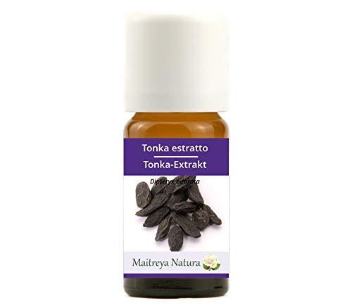 Maitreya Natura Ätherisches Öl biologisch TONKA EXTRAKT, 100% naturrein, 10ml - Aromatherapie, Diffusor, Massage, Kosmetik - kontrollierte und zertifizierte Qualität, cruelty free, vegan