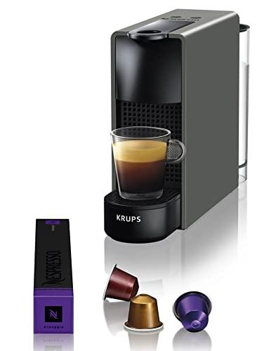 Krups Nespresso Essenza Mini XN110B - Cafetera monodosis de cápsulas Nespresso, compacta, 19 bares, apagado automático, color gris, Pack Cápsulas bienvenida incluido