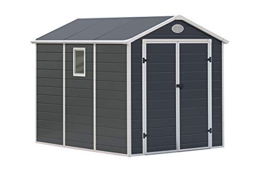 GARDIUN KSP38140 - Caseta de Resina Fiorella - 5,23 m² Exterior 278x188x225 cm Antracita/Blanco