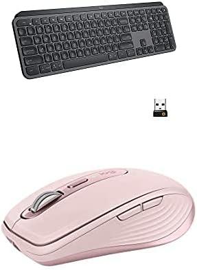 Logitech MX Keys Advanced Wireless Illuminated Keyboard - Graphite with Anywhere 3 Compact Performance Mouse, Wireless, Comfort, Fast Scrolling - Rose